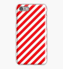 Christmas Red & White Candy Cane Diagonal Stripe iPhone Case/Skin