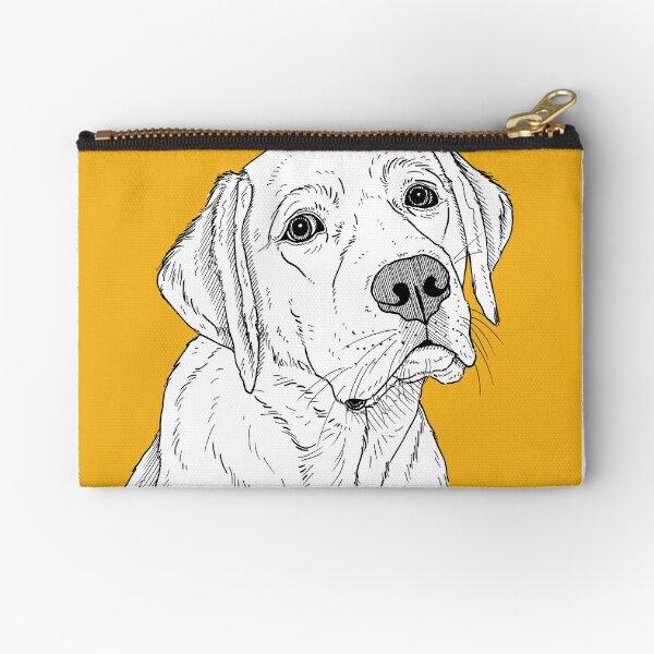 Black Labrador Retriever Dog Face Closeup Pencil Pen Organizer Zipper Pouch Case