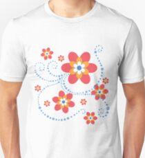 rot-orange-weiß-blaue Blumen mit blauen Punktspiralen Slim Fit T-Shirt