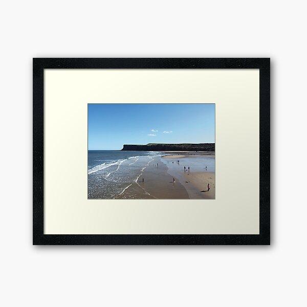 NDVH Saltburn Beach - Hunt Cliff (without text) Framed Art Print