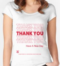 plastic bag shirt - thank you Women's Fitted Scoop T-Shirt