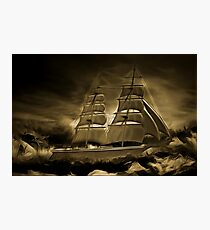 An old style digital painting of an 18th century Sailing Brig Photographic Print