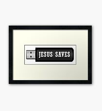 JESUS SAVES - USB SHINY Framed Print