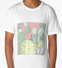 Hand Drawn  cactus summer print Long T-Shirt