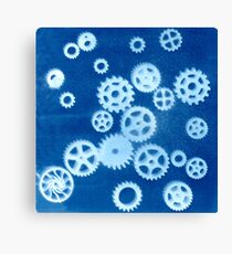 Cyanotypes: Cogs Large Canvas Print