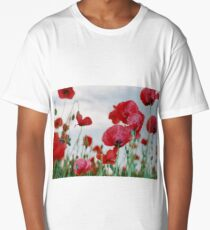 Field of Poppies Against Grey Sky  Long T-Shirt