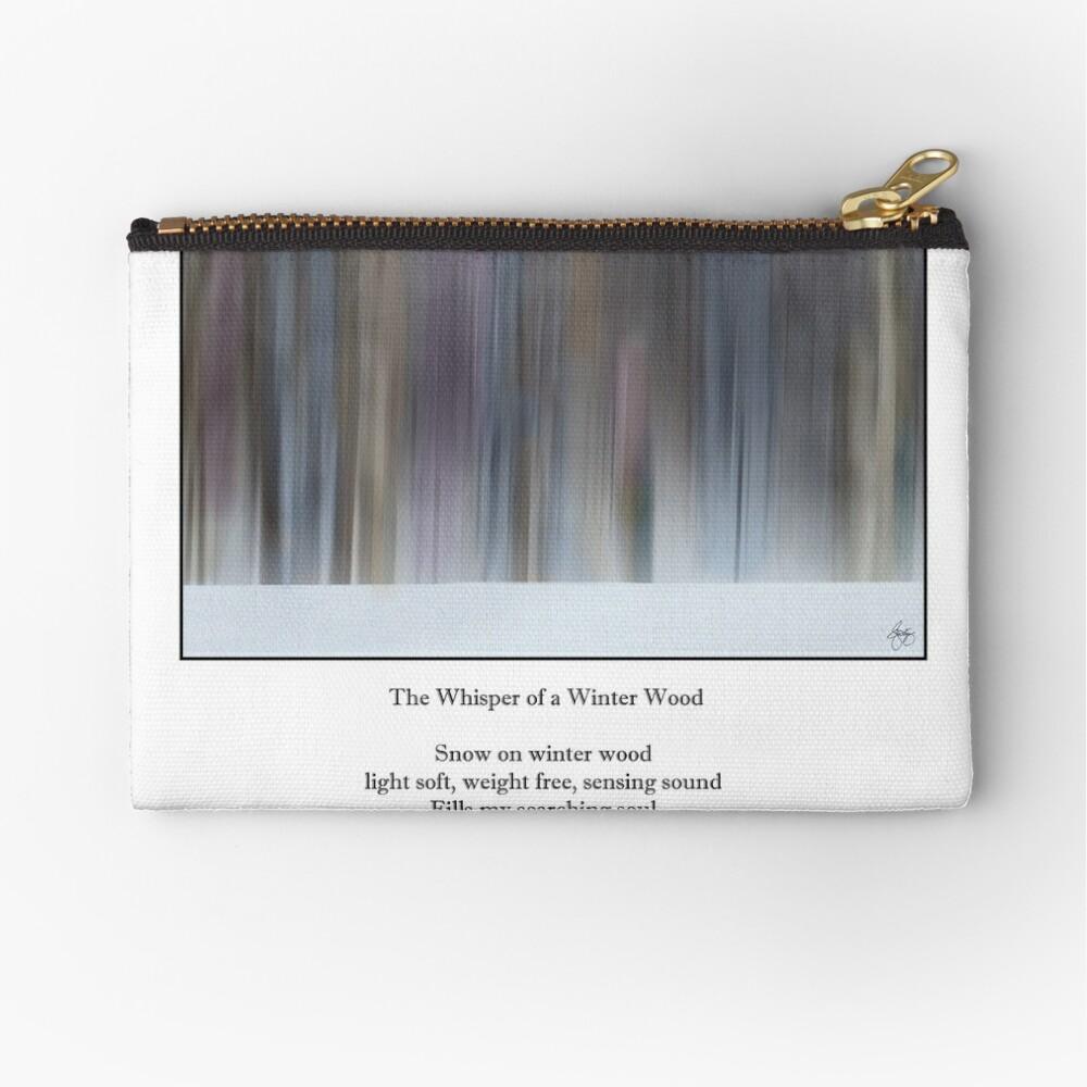 The Whisper of a Winter Wood Redux Haiku Zipper Pouch
