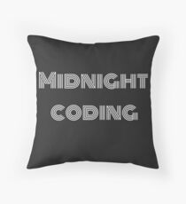 Midnight coding text Throw Pillow