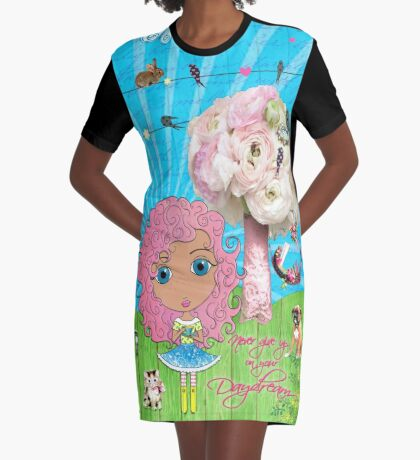 Daydreams Really Do Come True - Light Pink Hair Version Graphic T-Shirt Dress