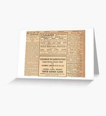 1912 Titanic return voyage newspaper advert clipping circled Greeting Card
