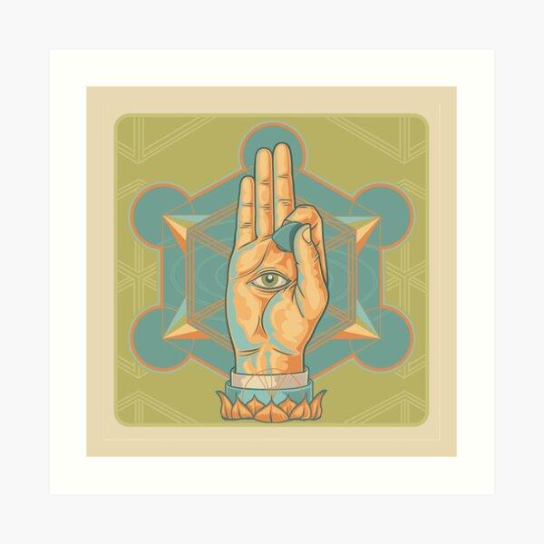 Guitar Player Hand Mystic Rock Mandala Art Print