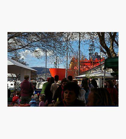 The Aurora Australis at the Salamanca Market in Hobart Photographic Print