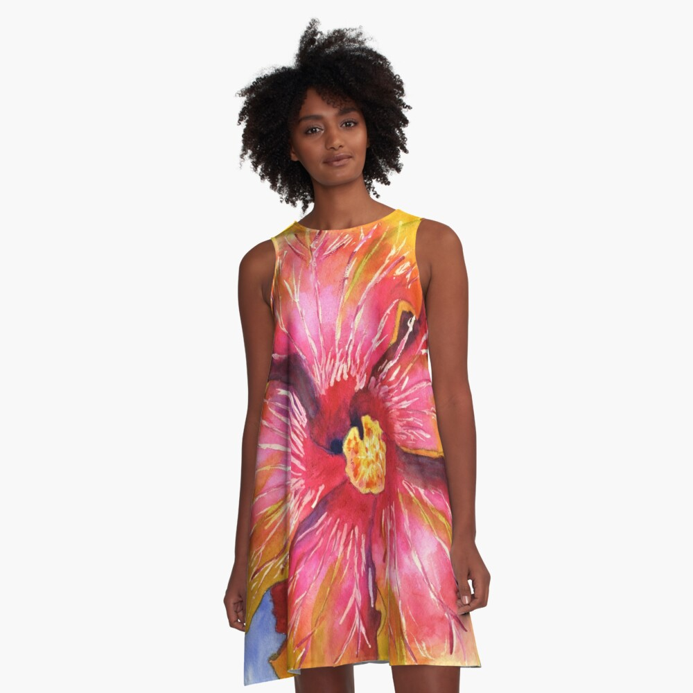 Yellow and Pink Groovy Hibiscus A-Line Dress Front