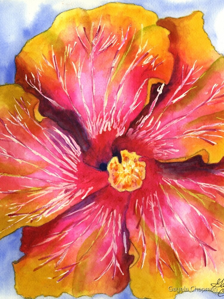 Yellow and Pink Groovy Hibiscus by GayelaChapman