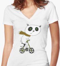Cute funny panda on bike  Women's Fitted V-Neck T-Shirt