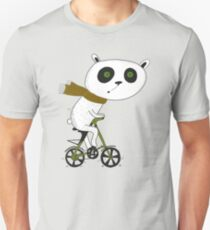 Cute funny panda on bike  Unisex T-Shirt