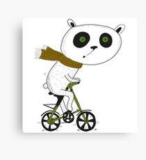 Cute funny panda on bike  Canvas Print