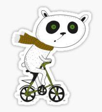 Cute funny panda on bike  Sticker