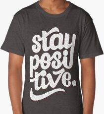 Stay Positive - Hand Lettering Retro Type Design Long T-Shirt