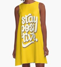 Stay Positive - Hand Lettering Retro Type Design A-Line Dress