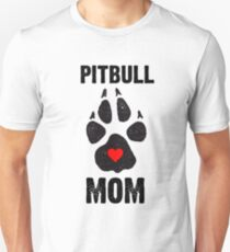 Pitbull Mom Dog Paw Prints Unisex T-Shirt