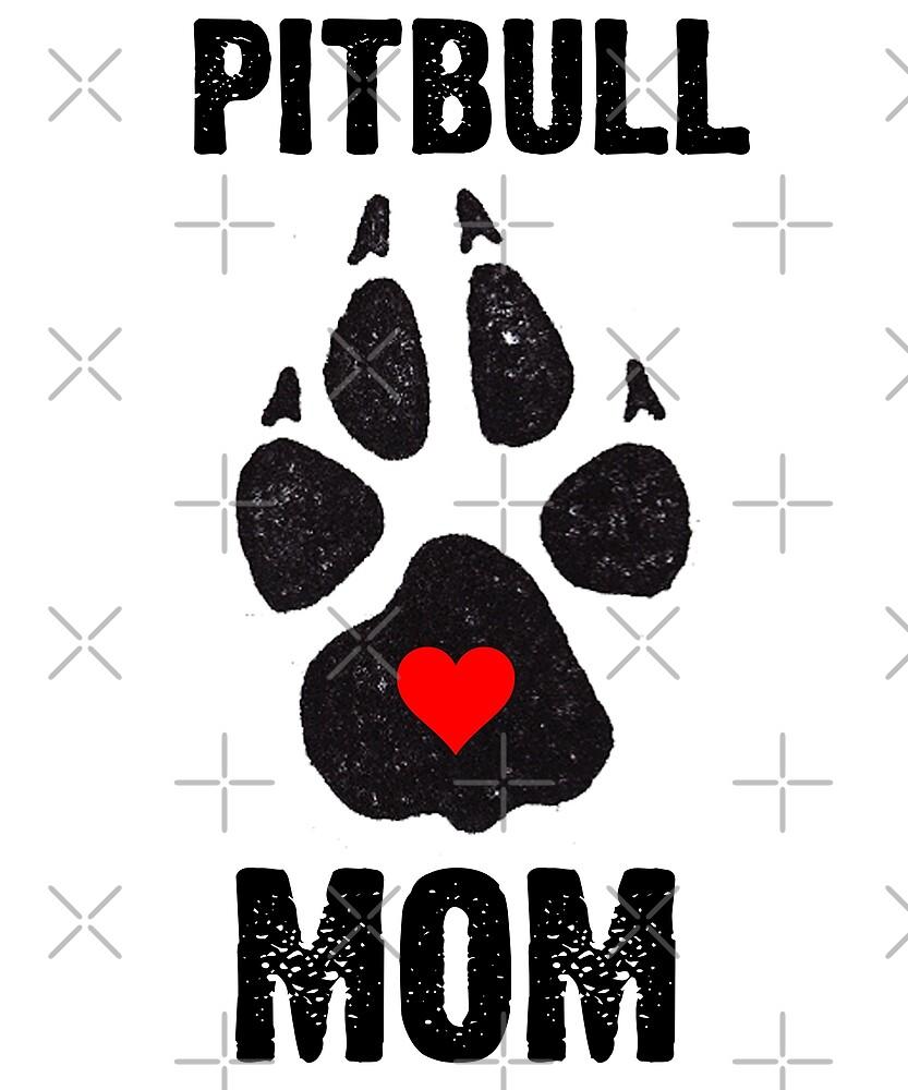 Pitbull Mom Dog Paw Prints by Kimcf