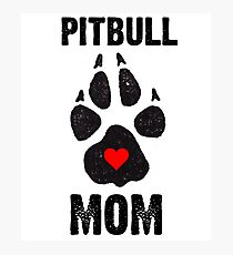 Pitbull Mom Dog Paw Prints Photographic Print