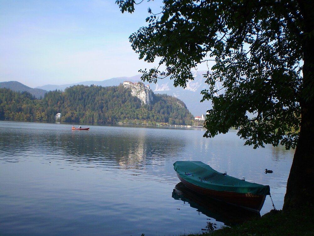 Boat moored at Lake Bled, Slovenia by SammyH