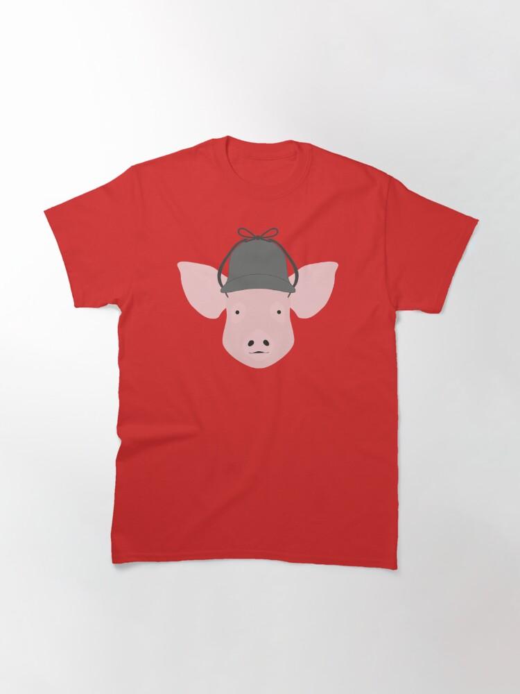 Alternate view of NDVH Pig Wearing a Deerstalker Classic T-Shirt