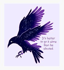 """It's Better To Go It Alone"" Galaxy Raven Photographic Print"