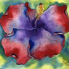 Red and Purple Groovy Hibiscus by Gayela Chapman