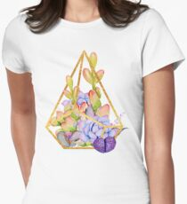 Succulent plant terrarium, succulents and a gold wire terrarium Womens Fitted T-Shirt