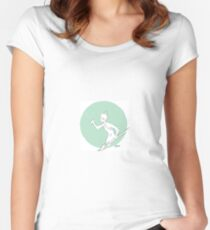 Paint Brush Warrior-green Women's Fitted Scoop T-Shirt
