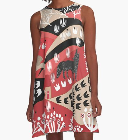 Wolf's Promise Land A-Line Dress