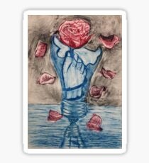 hand in light bulb with rose Sticker