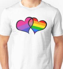BISEXUAL PRIDE FLAG GAY PRIDE FLAG HEARTS Unisex T-Shirt