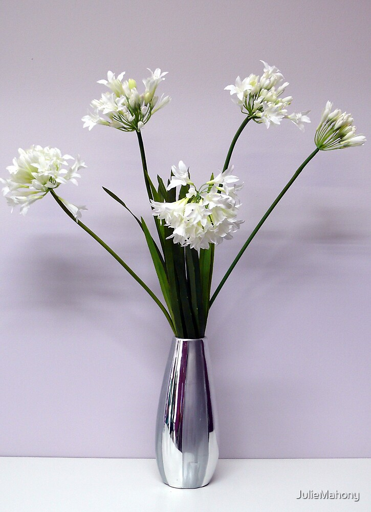White Flowers in Silver Vase by JulieMahony