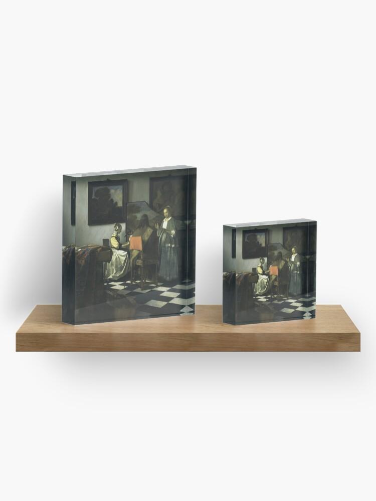 Alternate view of Stolen Art - The Concert by Johannes Vermeer Acrylic Block