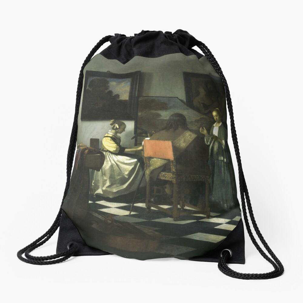 Stolen Art - The Concert by Johannes Vermeer Drawstring Bag
