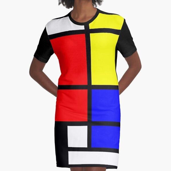Mondrian style art deco design in basic colors Graphic T-Shirt Dress