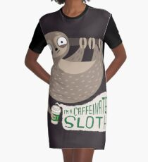 Caffeinated Sloth Graphic T-Shirt Dress