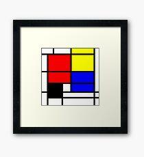 Mondrian style art deco design in basic colors Framed Print