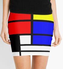 Mondrian style art deco design in basic colors Mini Skirt