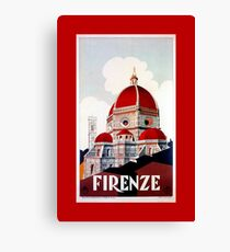 Florence Firenze 1920s Italian travel ad, duomo Canvas Print
