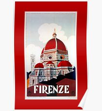 Florence Firenze 1920s Italian travel ad, duomo Poster