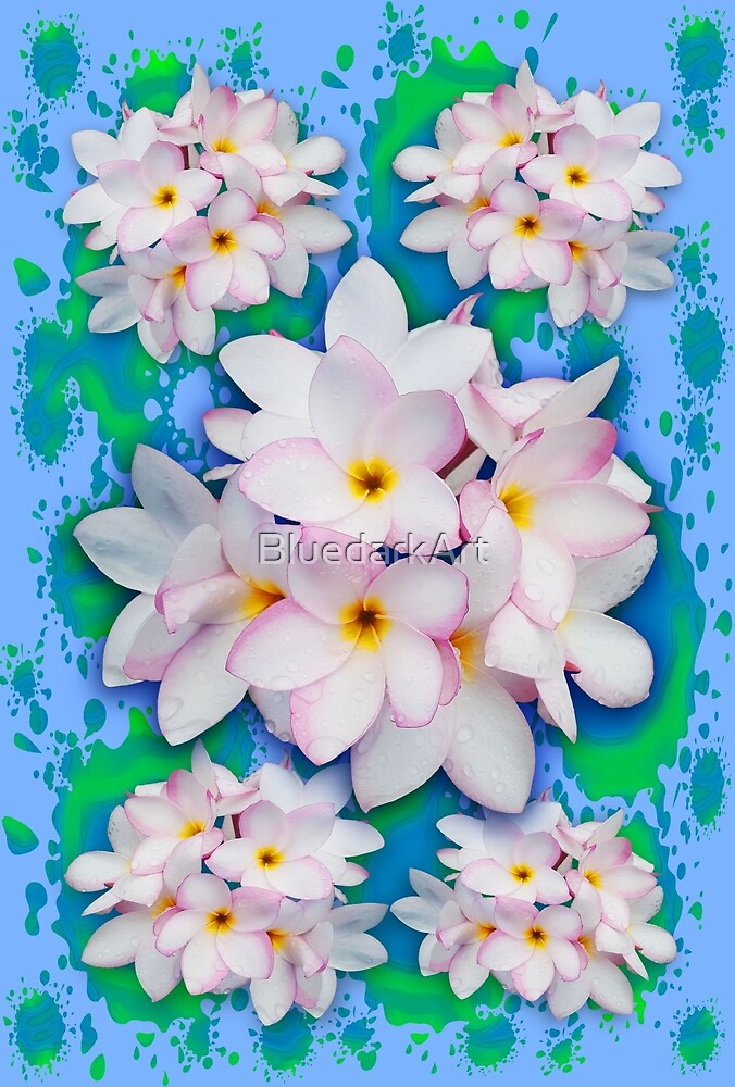 Plumeria Bouquet Exotic Summer Pattern by BluedarkArt