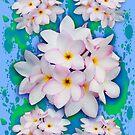 Plumeria Bouquet Exotic Summer Pattern by BluedarkArt