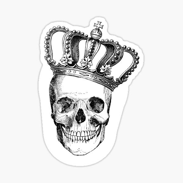Grinding Skull With Crown Sticker