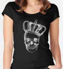 Grinding Skull With Crown Women's Fitted Scoop T-Shirt