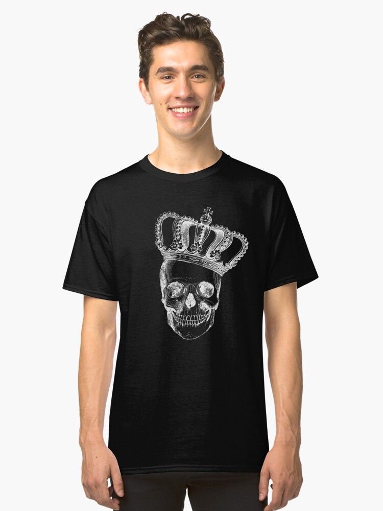 Grinding Skull With Crown Classic T-Shirt Front